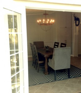 French doors open from the patio into the dining room.