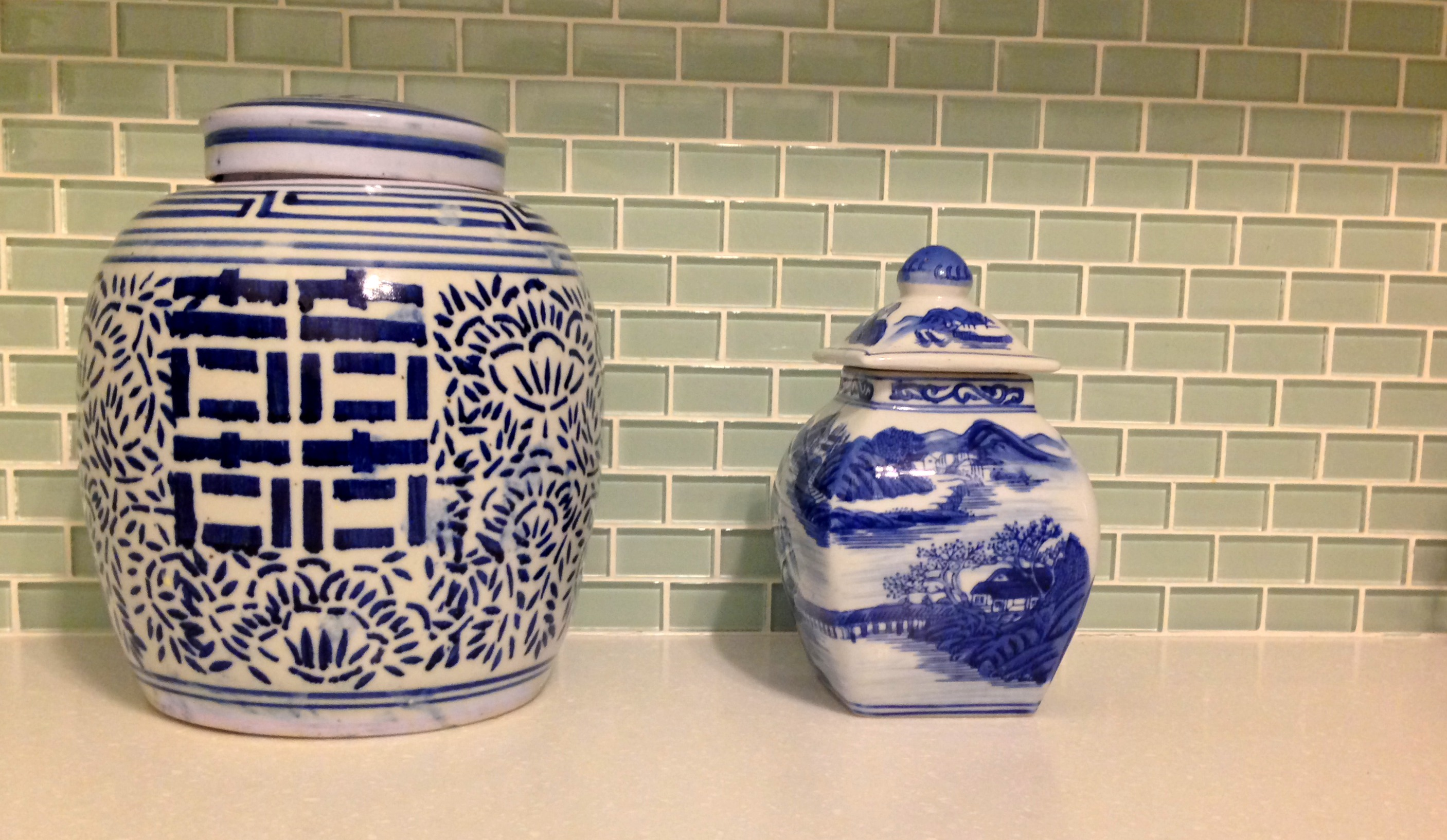 For a twist on canisters, mix in some blue porcelain ginger jars. ($18 & $10 from local consignment/antique stores)