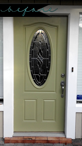 "This is what our door looked like before the ""makeover."""