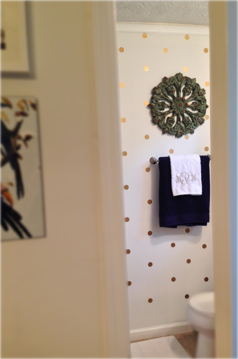 Gold Dot Decals as Wallpaper from The Lovely Wall Co.