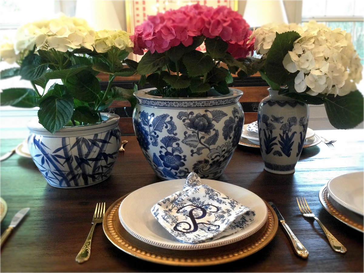 "I love mixing patterns of the same color. Embroidered napkins are from Mt. Vernon in their ""Mt. Vernon Toile."""
