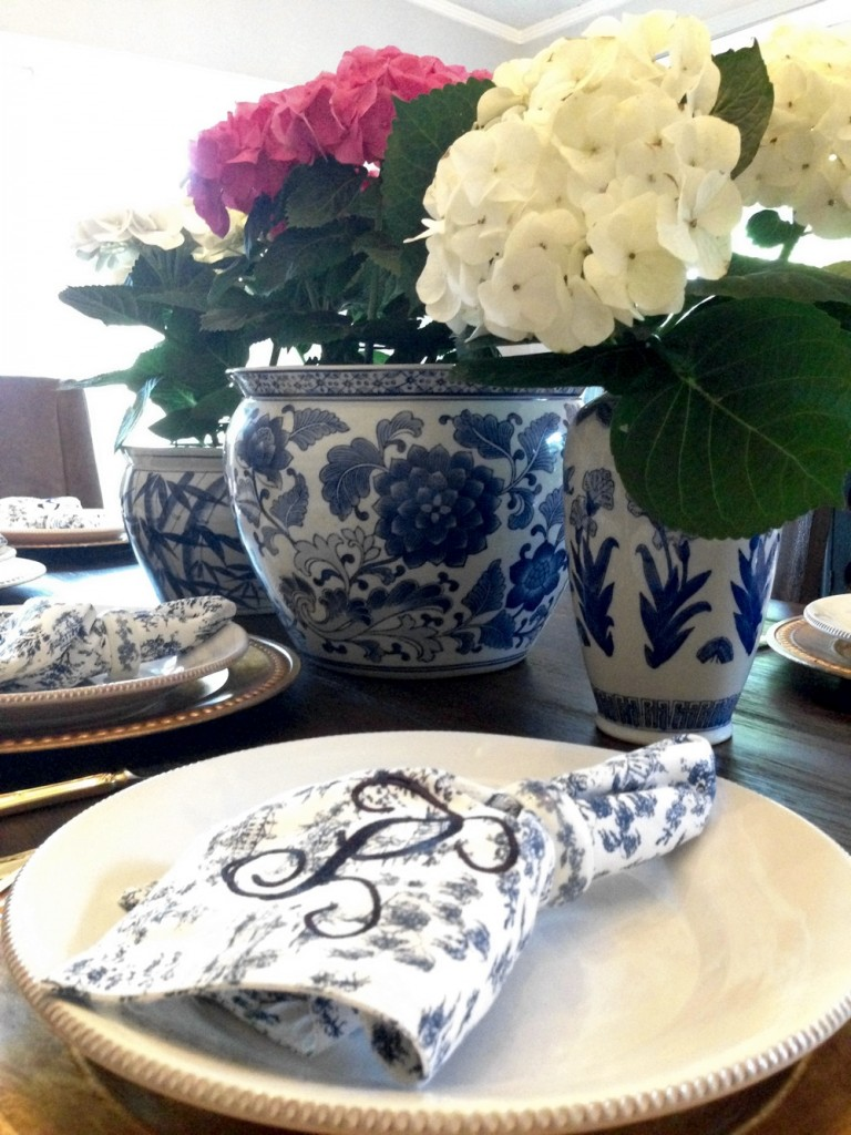 Monogramming your napkins takes your table to a time when dinner was an event.