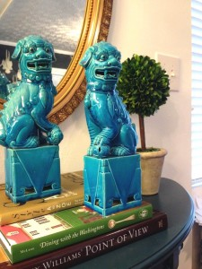 Turquoise WWII Antique Foo Dogs- they are quite a powerful pair.