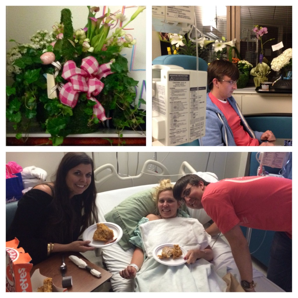 Flowers, my sweet husband Matt, and Easter dinner in the hospital with Amanda