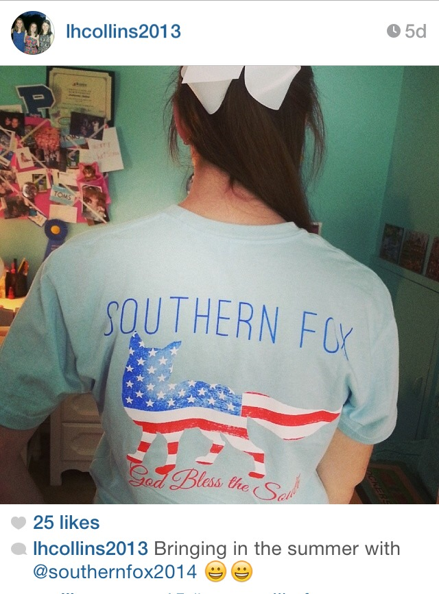 """Southern Fox's """"weartaglikefree"""" social media campaign encourages buyers to """"wear"""" and """"tag"""" their Southern Fox shirts."""