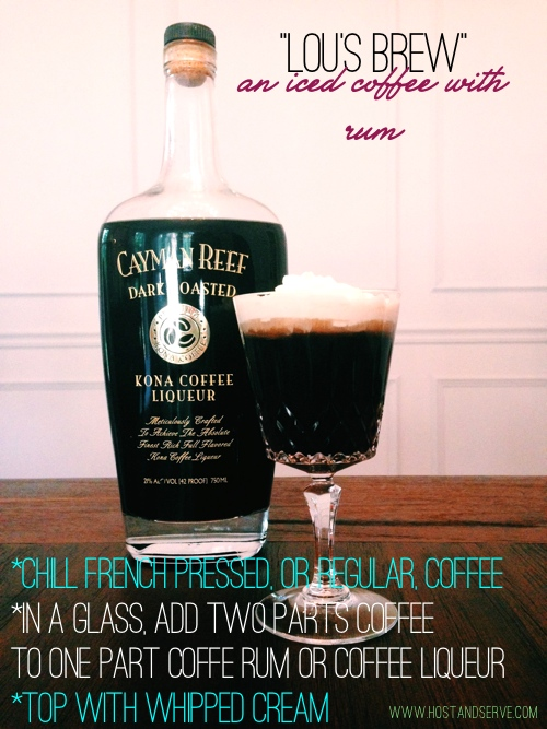 Combine chilled coffee and coffee rum; top with whipped cream and serve.