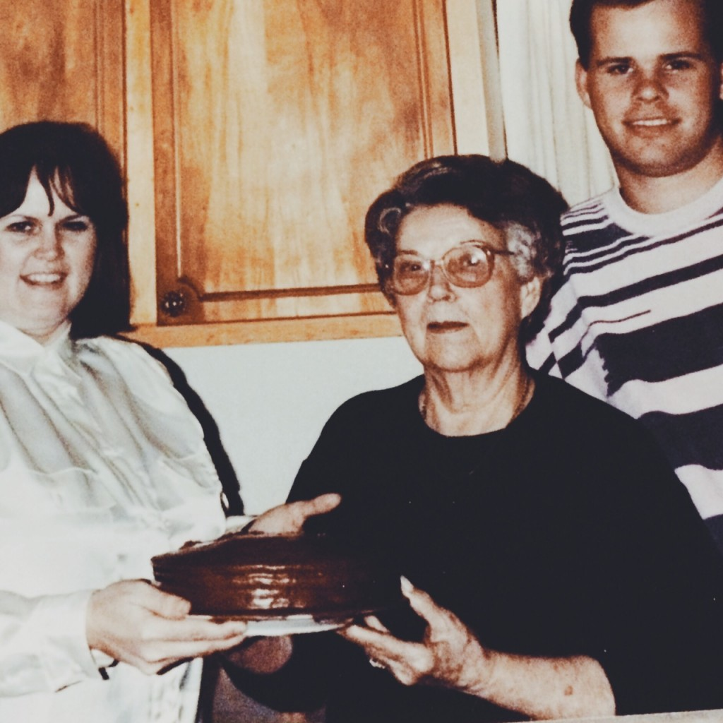 Mary Browning (my mama),  Aunt Inez, and cousin Robbie Hollingsworth... and Aunt Inez's Chocolate Cake
