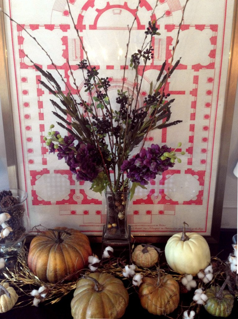 """The Buffetscape""~ Different heights are created with a middle arrangement, vases of pinecones, and vintage pumpkins create lower eyeline."