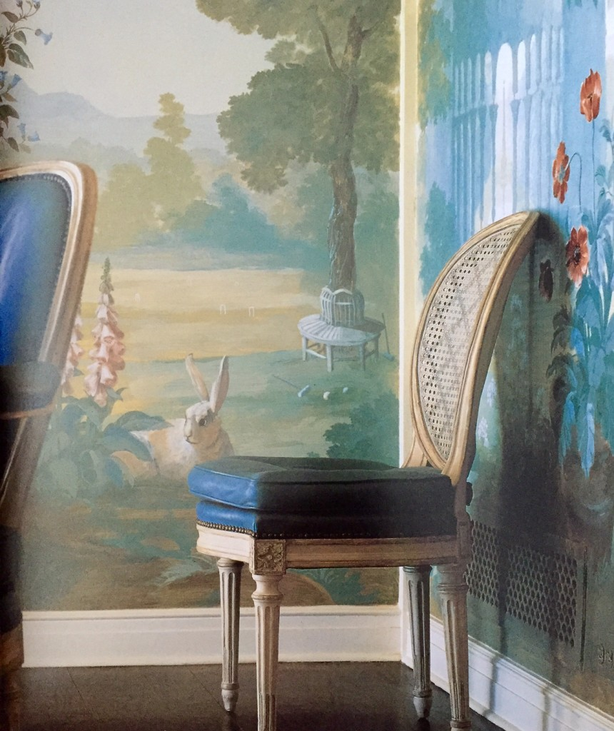 Robert Jackson's painted garden landscapes in a breakfast room. The French chairs are from the 19th century and are upholstered in blue leather. [from Point of View by Bunny Williams]