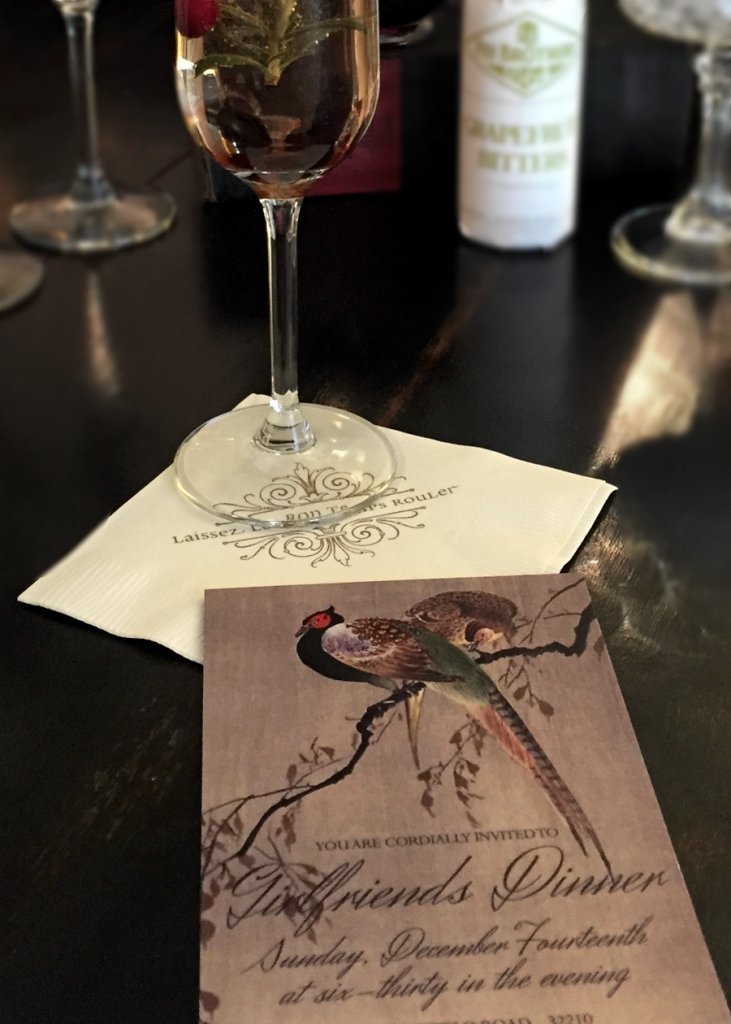 Two pheasants are featured on the invitation, giving guests a preview of the party's style.