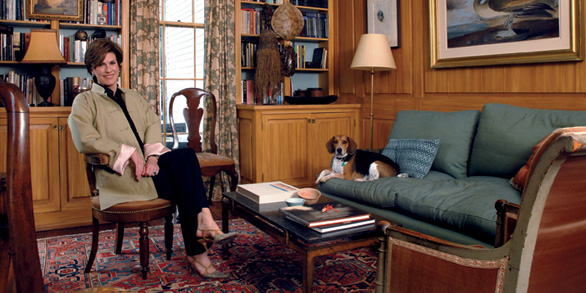 Author Julia Reed in her library with her treasured tortoise shell. ~from Garden & Gun