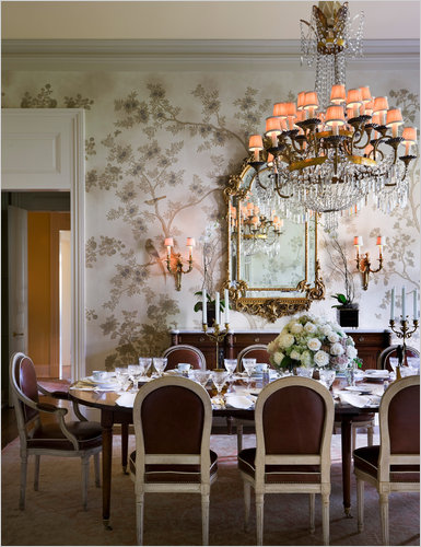 An 1840's Greek Revival  dining room  in New Orleans designed by Alexa Hampton and featured in The New York Times. ~photo by Scott Francis