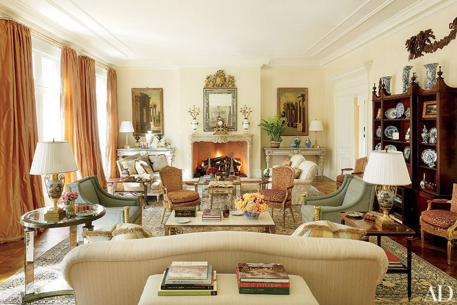 Notice where Mrs. Bunny Williams hung her drapery; ceiling to floor panels bring your eye up and add a touch of luxury.  ~from Architectural Digest