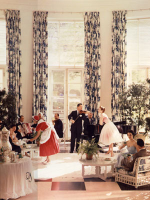 Dorothy Draper's designed interior of the Greenbrier Hotel. Notice where the curtains are hung... from ceiling to floor. ~from Good Housekeeping