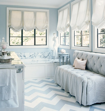 Every life needs a bit of glamour and whimsy. This Mary McDonald room captures both. Those window treatments are soft and elegant.