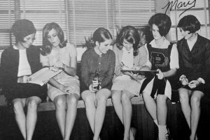 Mary Evans Browning, far right, from the 1968 Paxon High School Yearbook. Jacksonville, Florida