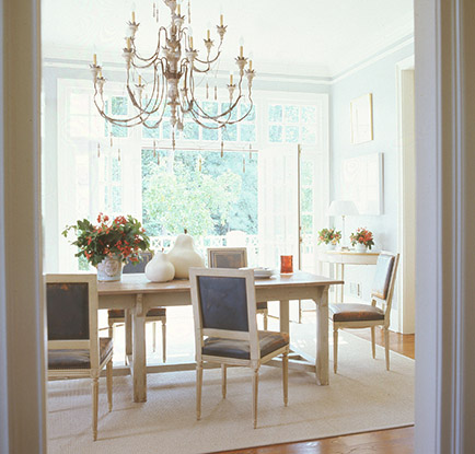Dining Room Designed by Suzanne Kassler~ notice the scale of the rug compared to the table and chairs.
