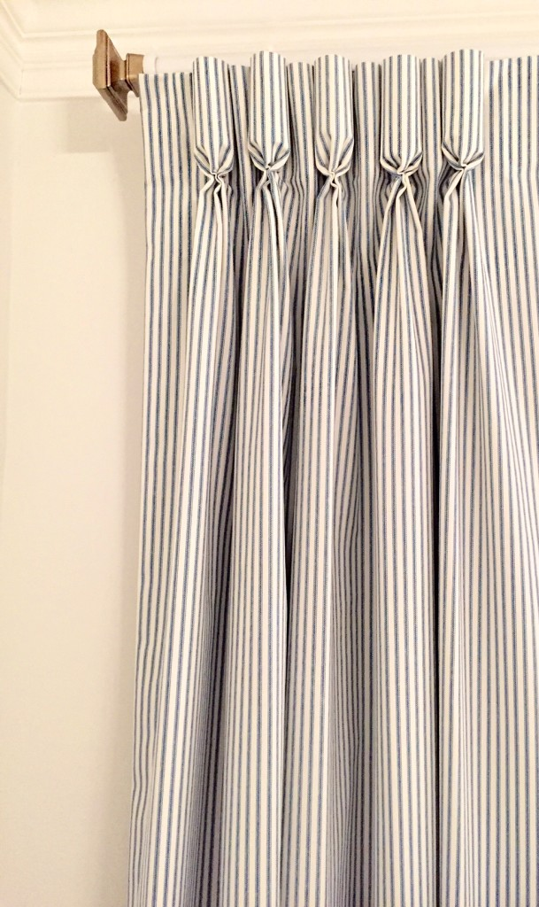 I chose to have my drapes finished with GOBLET PLEATS which combines formal elegance with the more casual, masculine blue and white stripe of the fabric.