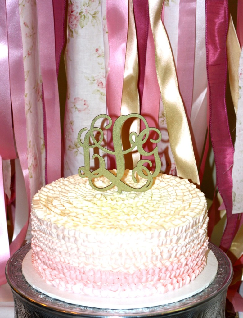 Ombre Cake with Monogram Topper