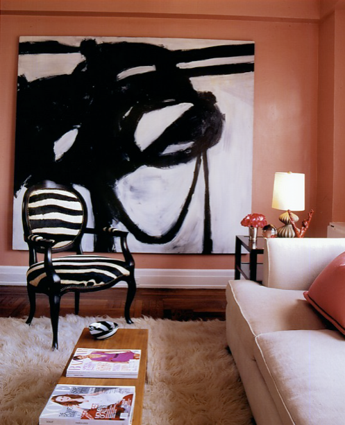 Miles Redd's room always have a touch of allure. He often uses art by Franz Kline.