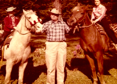 James, in his Stetson,  Mary and Kay Horse Picture 1961