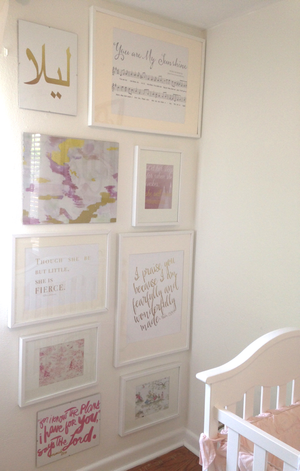 A chic salon wall for a nursery is an opportunity to frame sentimental pieces and inspirational words.