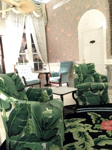 """The famed """"Brazilliance"""" pattern (used also at The Greenbrier) can be found on The Colony's walls and chairs."""