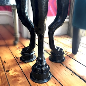 A detailed, footed table