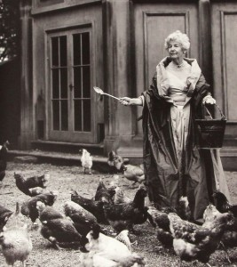 Deborah Cavendish, the Dowager of Duchess, with her chickens