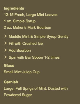 The Greenbrier's Mint Julep Recipe (from the website)
