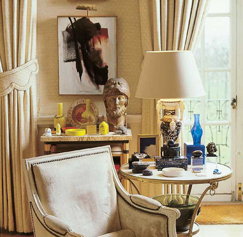 Two tablescapes styled by David Hicks